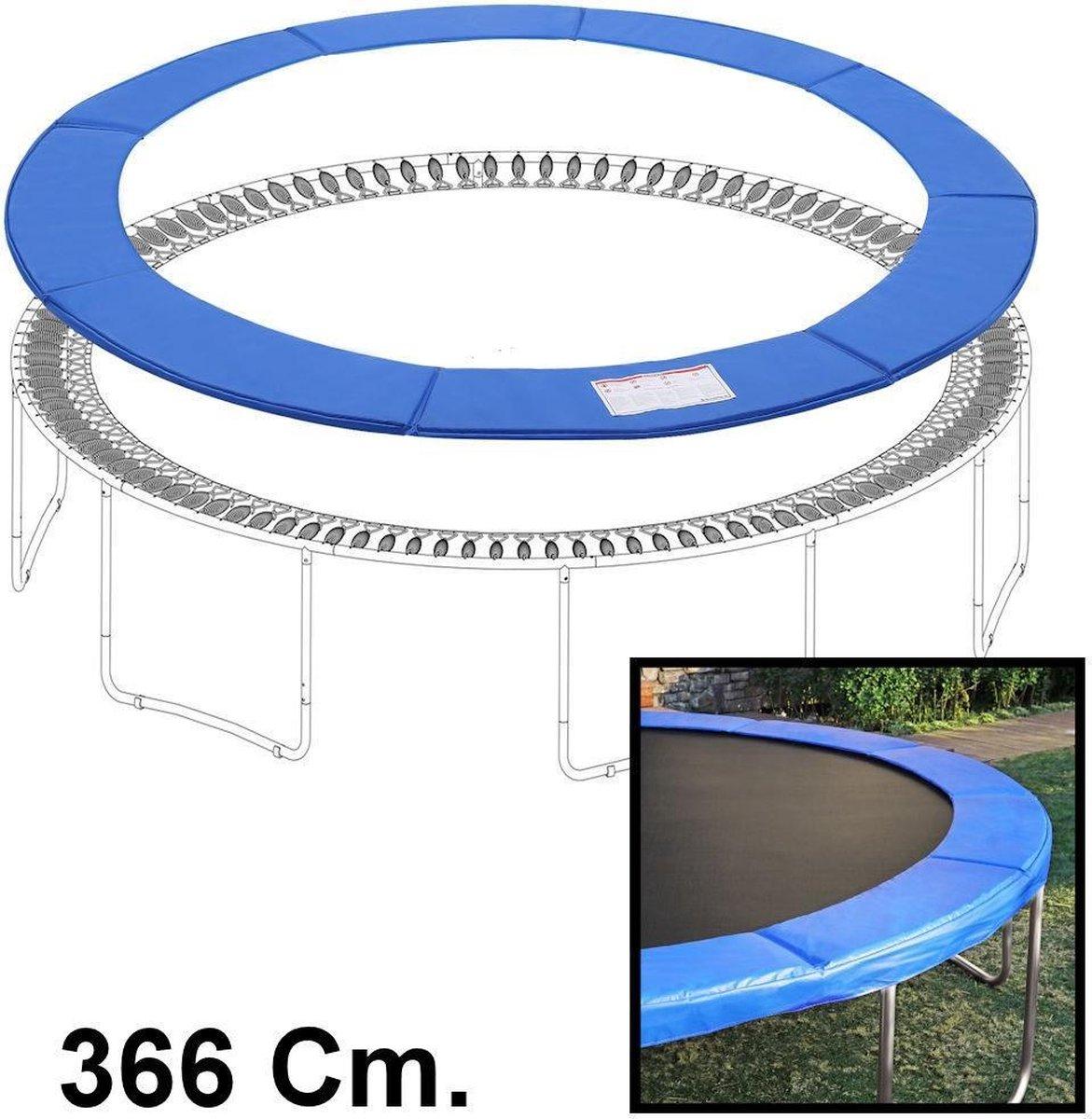 Sterke Trampolinerand 366 Cm diameter – Rond - Hoge kwaliteit beschermrand - Blauw - Trampoline rand afdekking universeel - Beschermrand voor Trampoli