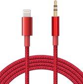 iPhone Lightning naar Headphone Jack Audio Aux Kabel - Iphone auto kabel - 3.5 mm - 1 Meter - Rood
