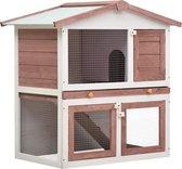 Konijnenhok voor buiten met 3 deuren hout bruin