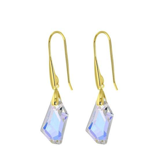 Zilveren oorbellen gold Swarovski kristal AB