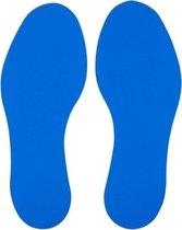 Voetstap  Set Links+Rechts - Blauw  70 x 180 mm - vloersticker met gladde toplaag