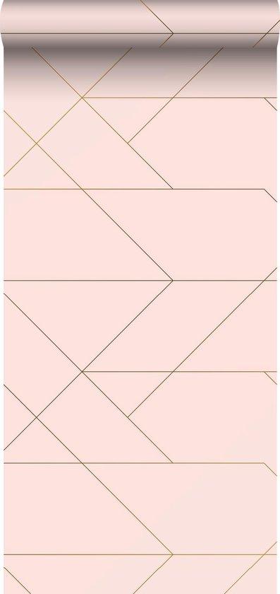 ESTAhome behang grafische lijnen zacht roze en goud - 139211