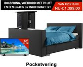 Boxspring Luxe compleet Antracite 180x200 Met Tv lift Voetbord GRATIS TV