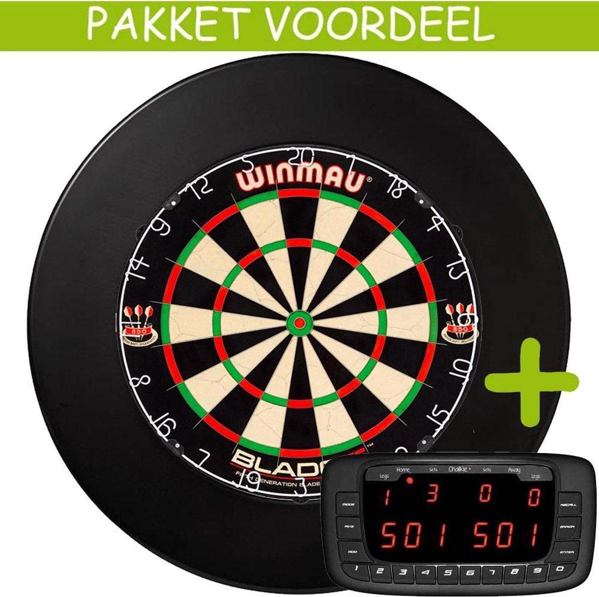 Elektronisch Dart Scorebord VoordeelPakket (Chalkie + ) - Blade 5 - Rubberen Surround (Zwart)