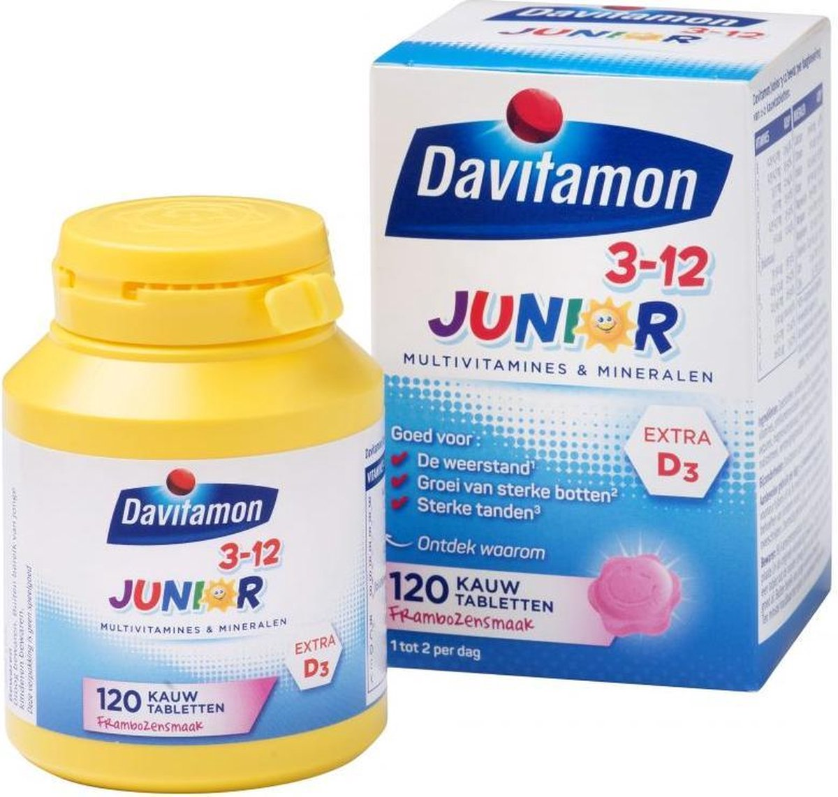 Davitamon Junior 3+ kauwvitamines - multivitamine kinderen - framboos - 120 stuks