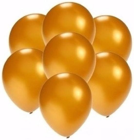 50x stuks Kleine mini metallic gouden ballonnen/ballonetjes van 13 cm - Feestartikelen/versiering