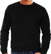Zwarte sweater / sweatshirt trui met raglan mouwen en ronde hals voor heren - zwart - basic sweaters L (EU 52)