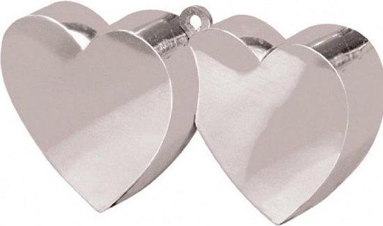 Set van 4x stuks ballon gewichtjes dubbele hartjes zilver 25 jaar getrouwd - Bruiloft feestartikelen