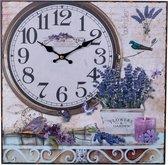 Decopatent® Canvas Schilderij Klok - Wandklok - LAVENDEL BLOEMEN & TUIN- Schilderijen met Klok - Woonkamer - Keuken - 38x38 Cm