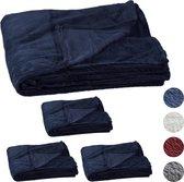 relaxdays 4 x fleece deken groot - plaid – woondeken - grand foulard 150x200 – donkerblauw