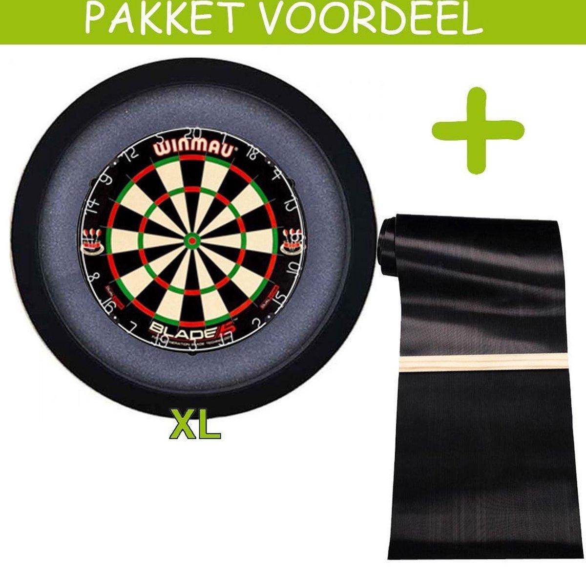 Dartbaan Pro - Dual Core - 120 x 300 Inclusief Oche - Dartbordverlichting Basic XL - (Zwart)