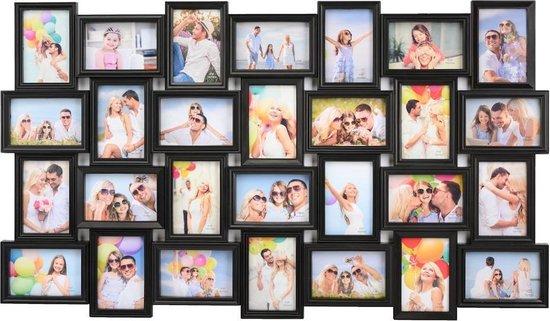 XL Fotolijst collage voor 28 Foto's van 10 x 15 & 15 x 10 Cm - Fotolijsten Collage voor foto formaat 14x 10x15 Cm & 14x 15x10 Cm - Fotogalerij fotocollage - Fotolijstje met 28 fotokaders - Fotokader - Afm: 103.5 x 60.5 Cm - Zwart - Decopatent®