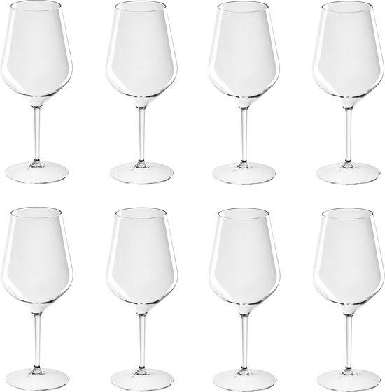 8x Witte of rode wijn wijnglazen 47 cl/470 ml van onbreekbaar kunststof - Wijnen wijnliefhebbers drinkglazen - Wijn drinken – herbruikbare glazen