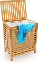 relaxdays Wasmand - Houten was mand - Bamboe hout - 100 liter met deksel - 60x50,5x35,5HBD