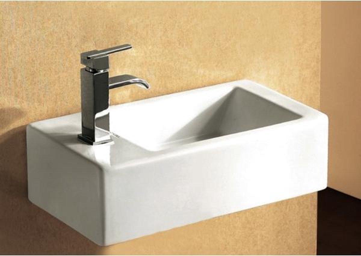 Nemo Go Recto fontein rechthoekig 24.5x50x12 cm porselein 1 kraangat met overloop wit