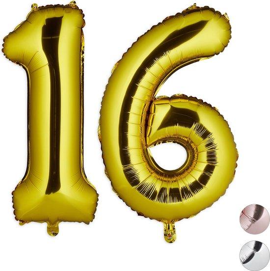 relaxdays 1x folie ballon 16 - cijfer ballon - groot - xxl ballon - verjaardag - goud