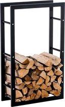 Clp Metalen brandhout rek KERI V3 haardhout opslag - zwart metaal, keuze uit 8 groottes - 25 x 80 x 100 cm