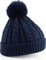 Beechfield Unisex Heavyweight Cable Knit Snowstar Winter Beanie Hat (Franse marine)