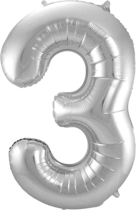 Ballon 3 Jaar Zilver 86Cm Folie Ballonnen Cijfers Feestversiering Met Rietje