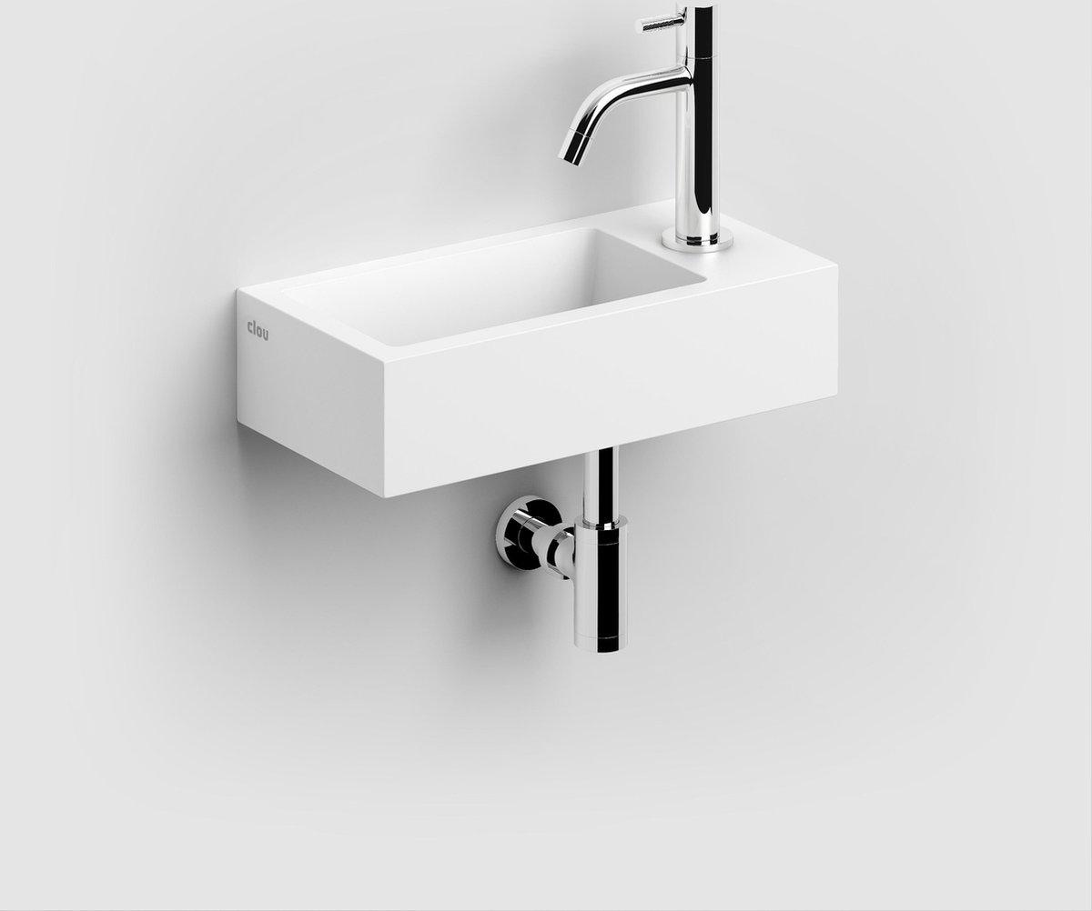 Fontein Clou Flush 3 Rechthoek 36x18x9cm Aluite Wit 1 Voorbewerkte Kraangat Rechts