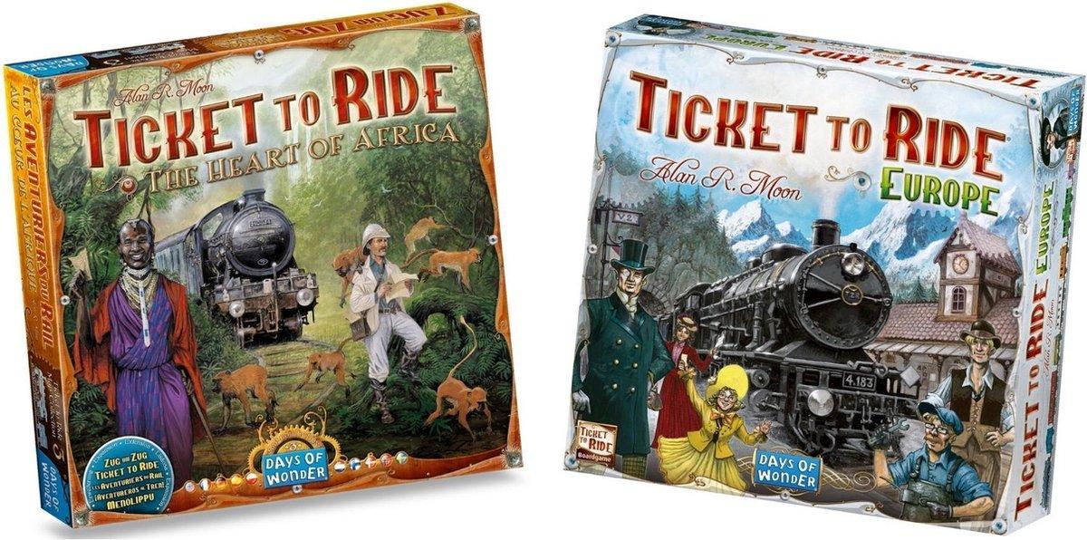 Ticket to Ride Spellenbundel - Bordspel - 2 stuks - Europa (Basisspel) & Uitbreiding Afrika