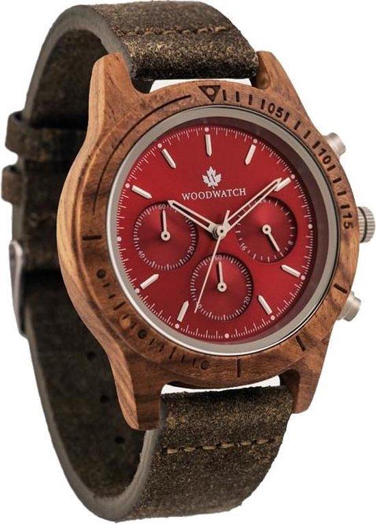 De officiële WoodWatch | Ruby Silver Khaki | Houten horloge heren