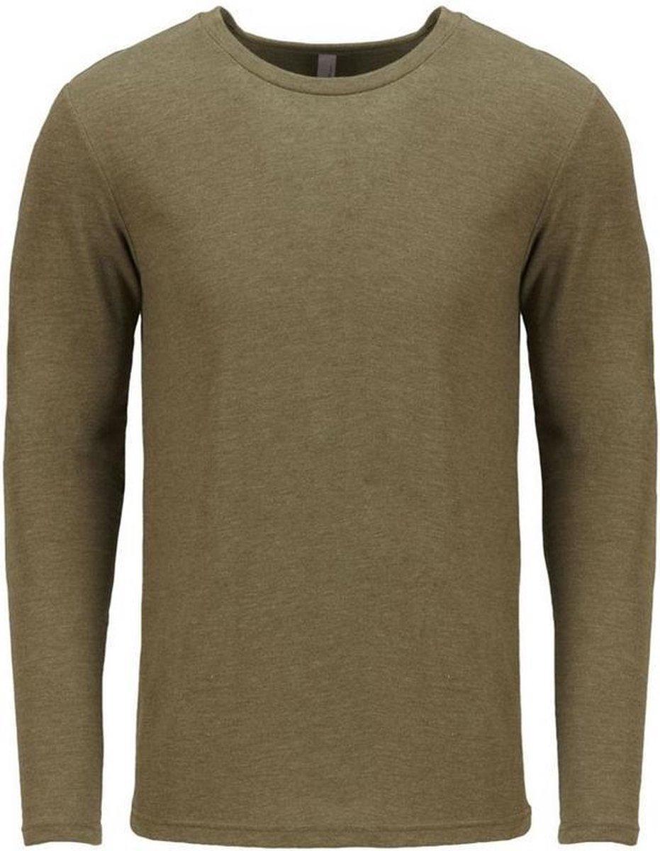 Next Level Volwassenen Unisex Lange Mouw Tri-Blend Crew T-Shirt (Militair Groen)