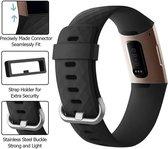 Fitbit charge 3 & 4 sport wafel bandje - zwart - SM - Horlogeband Armband Polsband