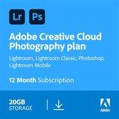 Adobe Creative Cloud Photography Plan - 1 Apparaat - 1 Jaar - 20GB Cloudopslag - Nederlands / Engels - Windows / Mac Download