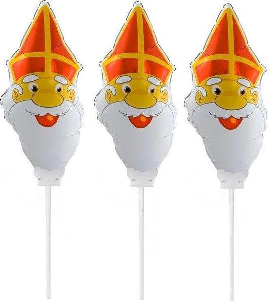 Set van 3x Sinterklaas gezichtje folie ballonnen 22 cm - Sinterklaas thema ballonnen/versiering