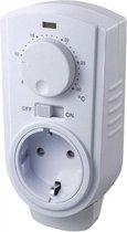 Super eenvoudige analoge stekker / stopcontact thermostaat, elektronisch mechanisch en geschikt voor verwarmen of koelen, SCHLOSS(randaarde met externe sensor)