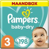 Pampers Baby-Dry Luiers - Maat 3 (6-10 kg) - 198 s