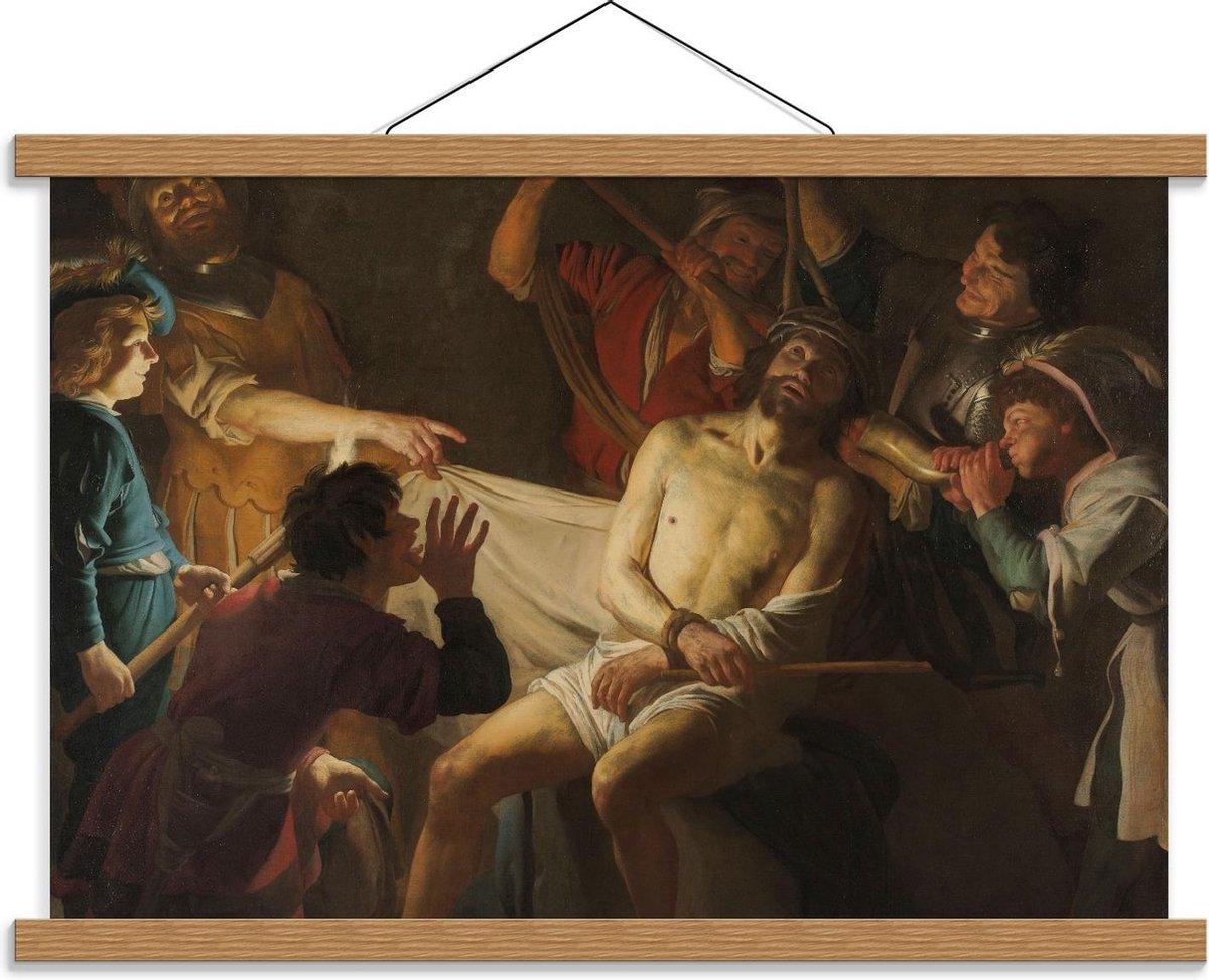 Schoolplaat   Oude Meesters - De doornenkroning van Jezus, Gerard v Honthorst, 1622 - 60x40cm Foto op Textielposter (Wanddecoratie op Schoolplaat)