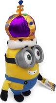 Minions - Koning Bob met Kroon - 3d Bril (plastic) - Pluche Knuffel - 38 cm
