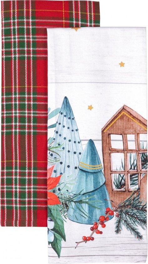 Amo La Casa Theedoek Huisjes 45 X 65 Cm Katoen Wit/rood 2 Stuks