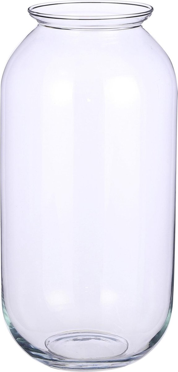 Transparante ronde vaas/vazen van glas 19 x 35 cm - Woonaccessoires/woondecoraties - Glazen bloemenvaas - Boeketvaas
