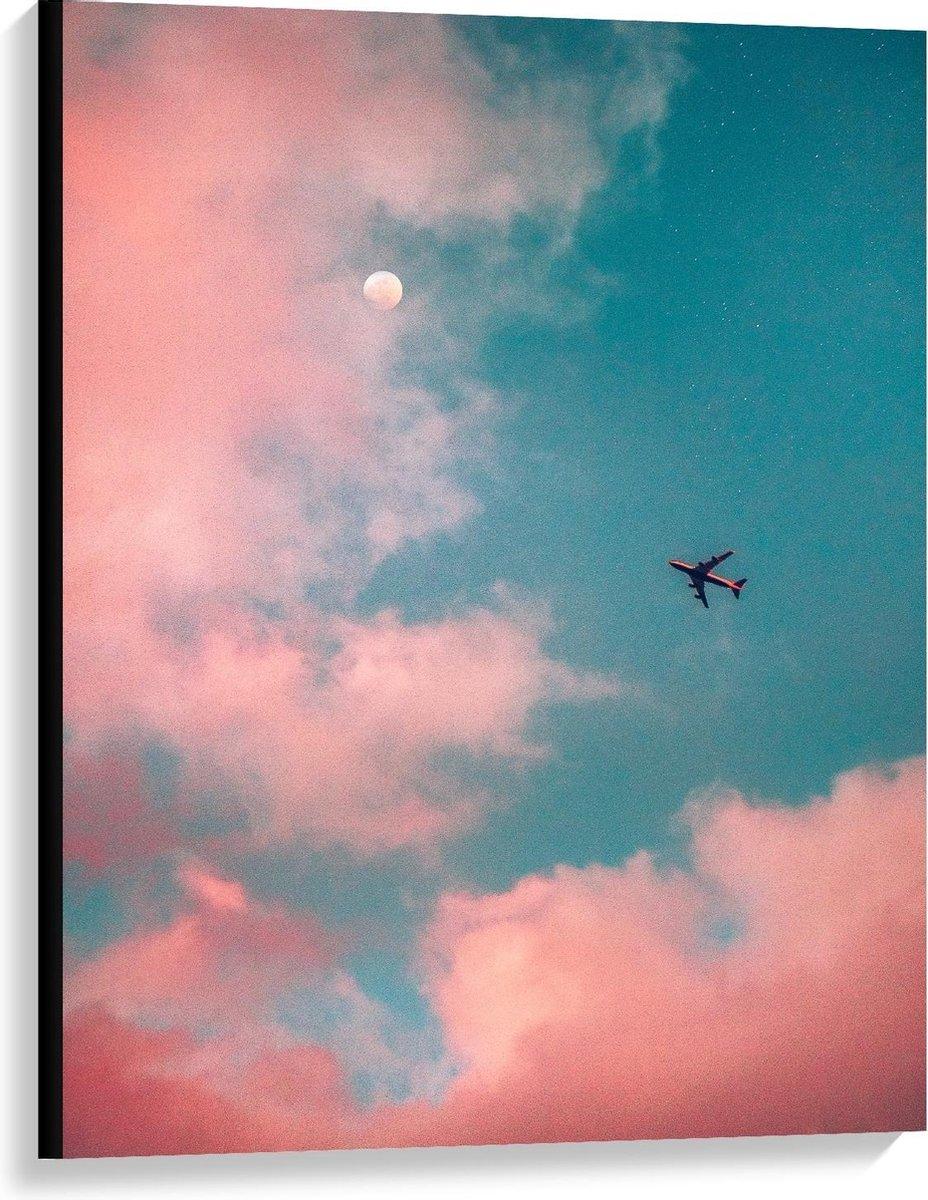 Canvas  - Vliegtuig Bij De Roze Wolken - 75x100cm Foto op Canvas Schilderij (Wanddecoratie op Canvas)