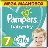 Pampers Baby Dry - Maat 7 - Mega Maandbox - 216 luiers