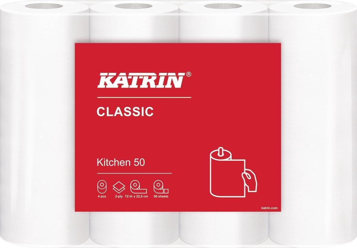 Katrin keukenpapier Classic, 2-laags, 50 vel per rol, pak van 4 rollen