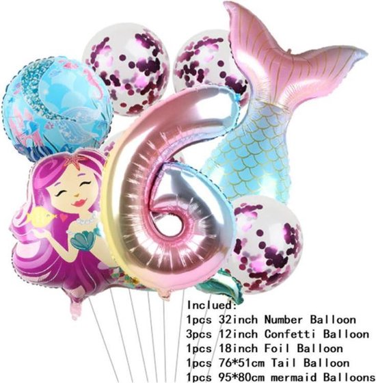 Zeemeermin ballonnen 6 jaar - set van 7 stuks - thema - mermaid