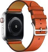 Apple Watch 38/40MM Leren Bandje - Leer - Horloge Bandje - Polsband - Kunstleer - Apple Watch 1 / 2 / 3 / 4 / 5 / 6 / SE - Oranje