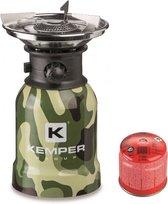 Kemper RVS camping gaspit met piëzo ontsteking - 1 pits + 1 gasbus