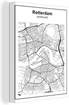 Stadskaart - Rotterdam canvas - Plattegrond 90x120 cm - Foto print op Canvas schilderij (Wanddecoratie woonkamer / slaapkamer) / Steden Canvas Schilderijen