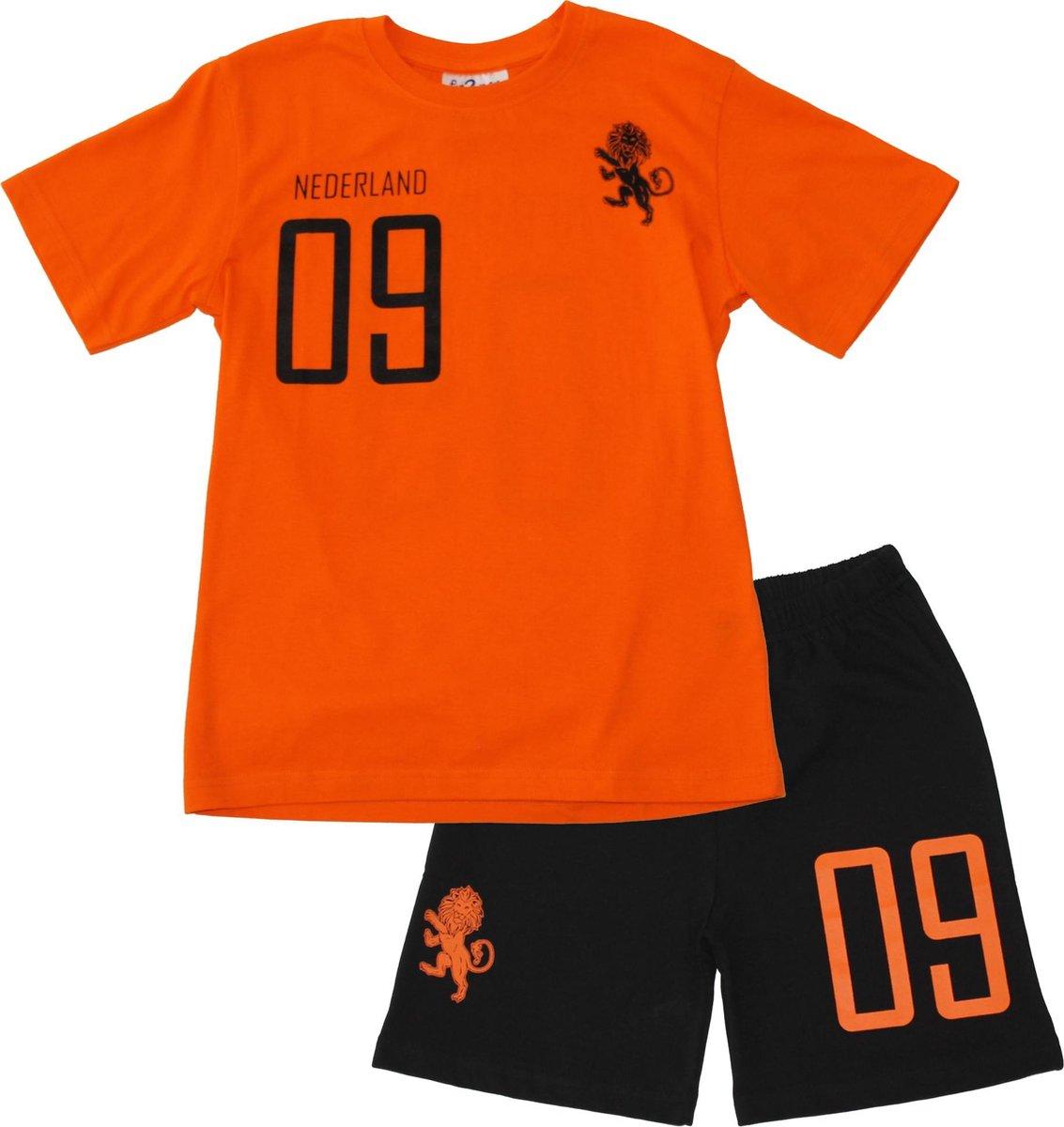 Fun2wear Shortama Elftal Oranje Zwart - maat 128