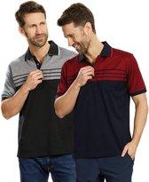 Poloshirt met Knoopjes, Marineblauw/Rood, Maat L