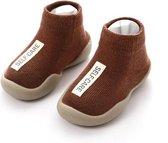 Antislip baby schoentjes - eerste loopschoentjes – Completebabyuitzet - maat 22,5 - 12-18 maanden – 13.5 cm - Mocca Bruin
