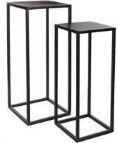 Mica Decorations Goa tafel - Zwart - Set van 2 - groot: 30x30x70 cm - klein: 25x25x60 cm