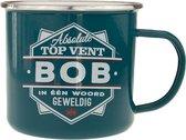 Mok - Top vent - Bob - Geëmailleerd - Gevuld met een snoepmix - In cadeauverpakking