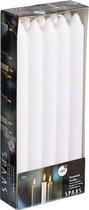 10x Witte dinerkaarsen 24 cm 8 branduren - Geurloze kaarsen - Huishoudkaarsen/tafelkaarsen/kandelaarkaarsen
