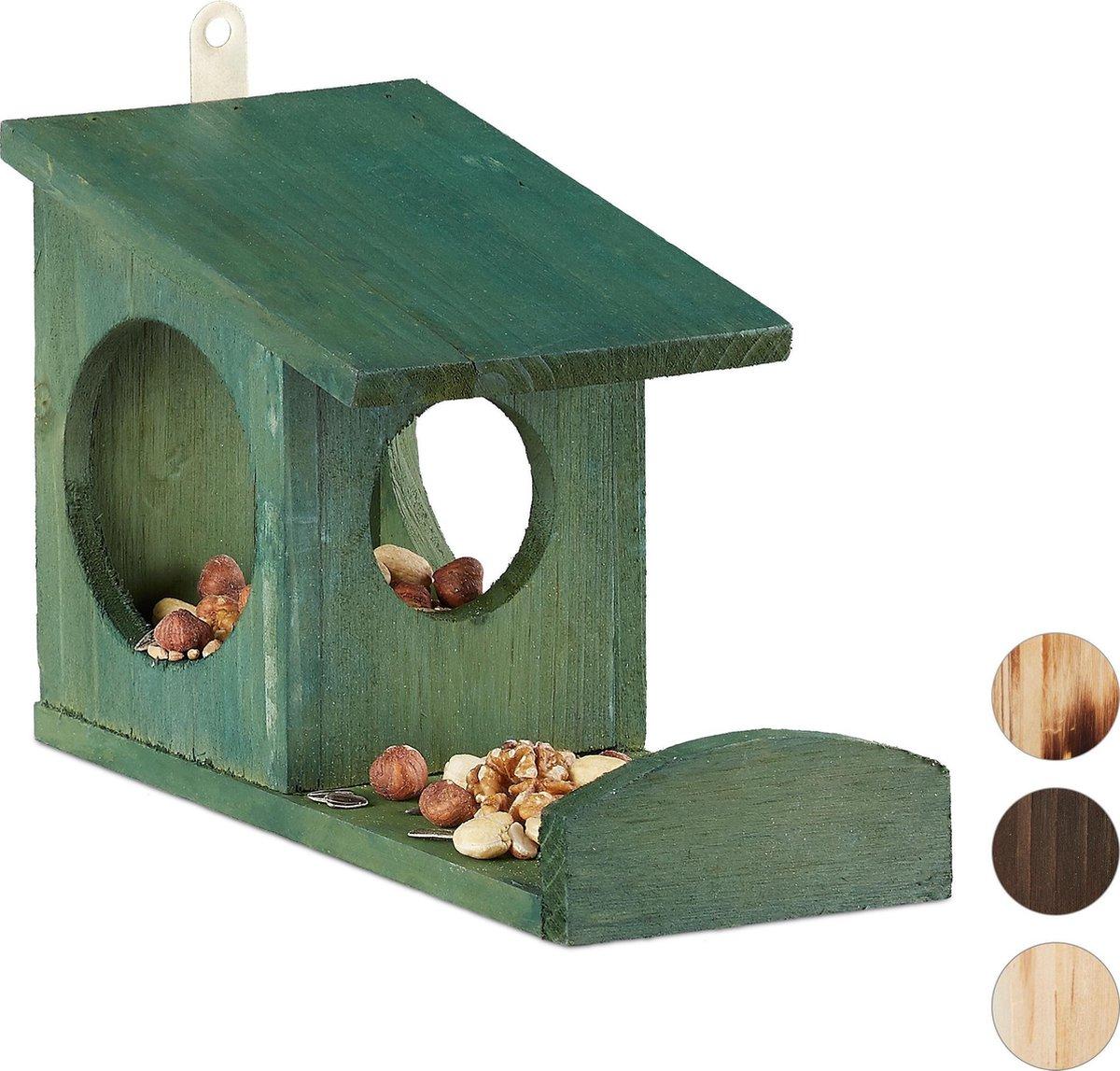 relaxdays eekhoorn voederhuisje - voederhuis - voederkast - voederbak - hout - voederplek donkergroe